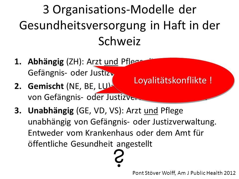 3 Organisations-Modelle der Gesundheitsversorgung in Haft in der Schweiz