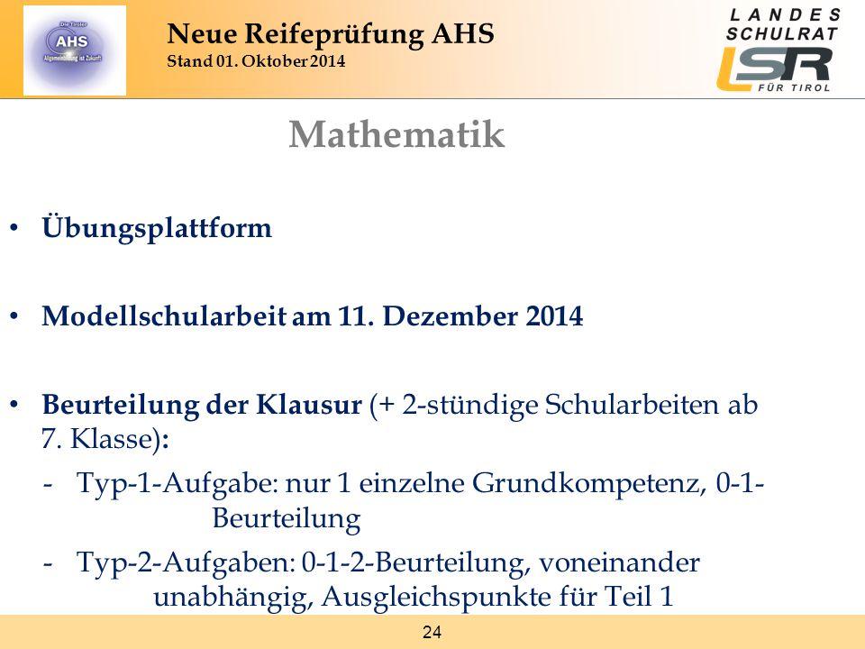 Mathematik Neue Reifeprüfung AHS Stand 01. Oktober 2014
