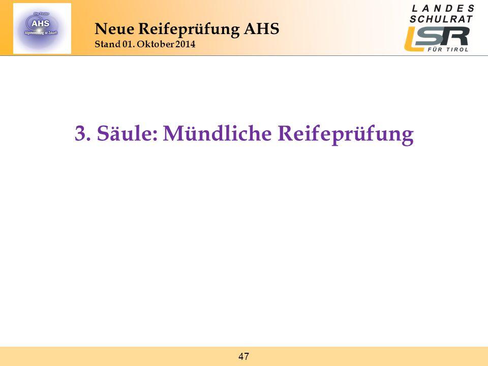 3. Säule: Mündliche Reifeprüfung