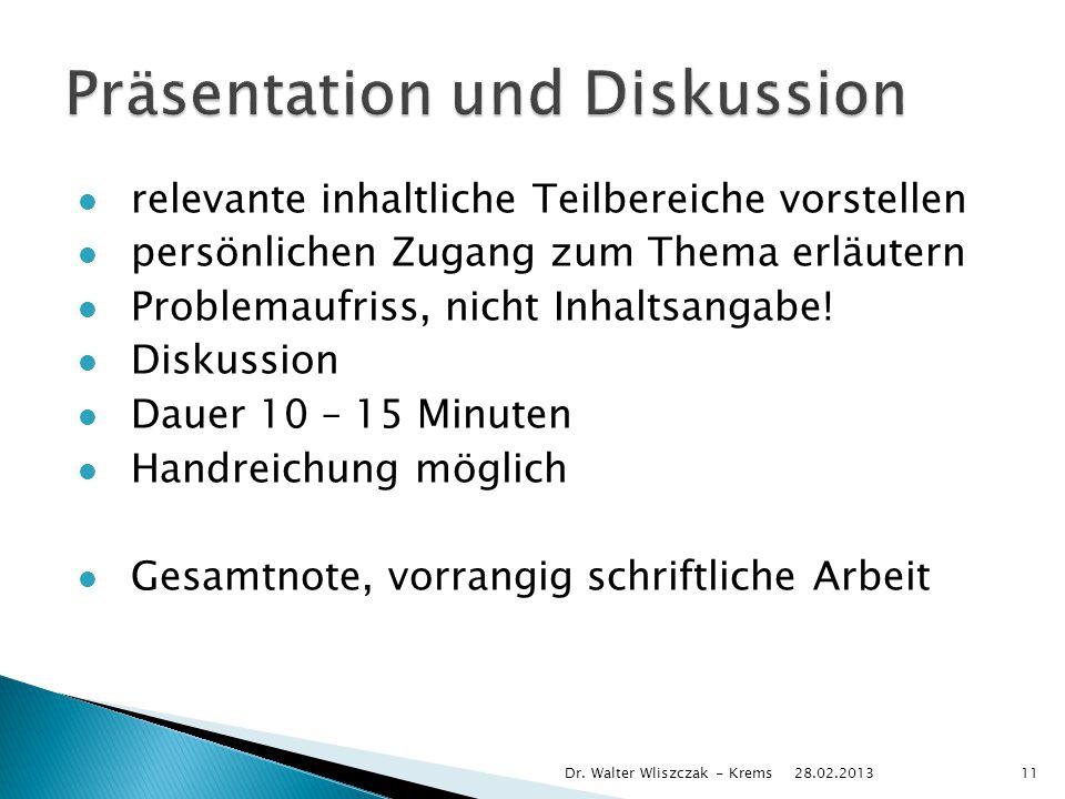 Präsentation und Diskussion