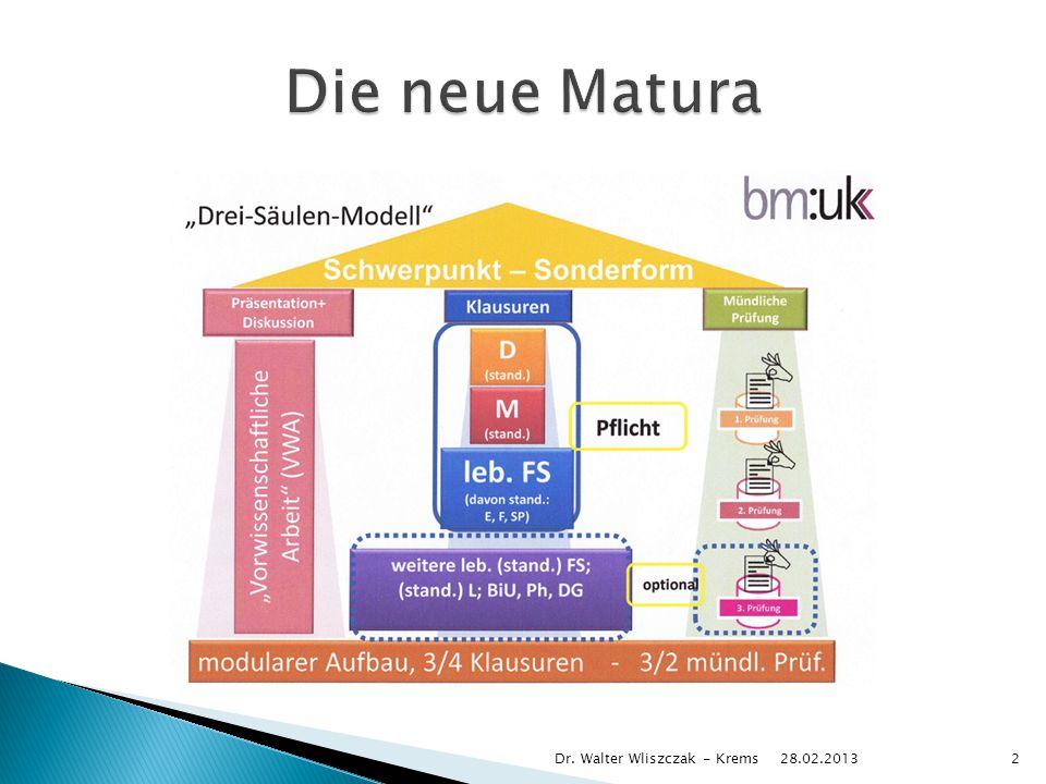 Die neue Matura Dr. Walter Wliszczak - Krems 28.02.2013