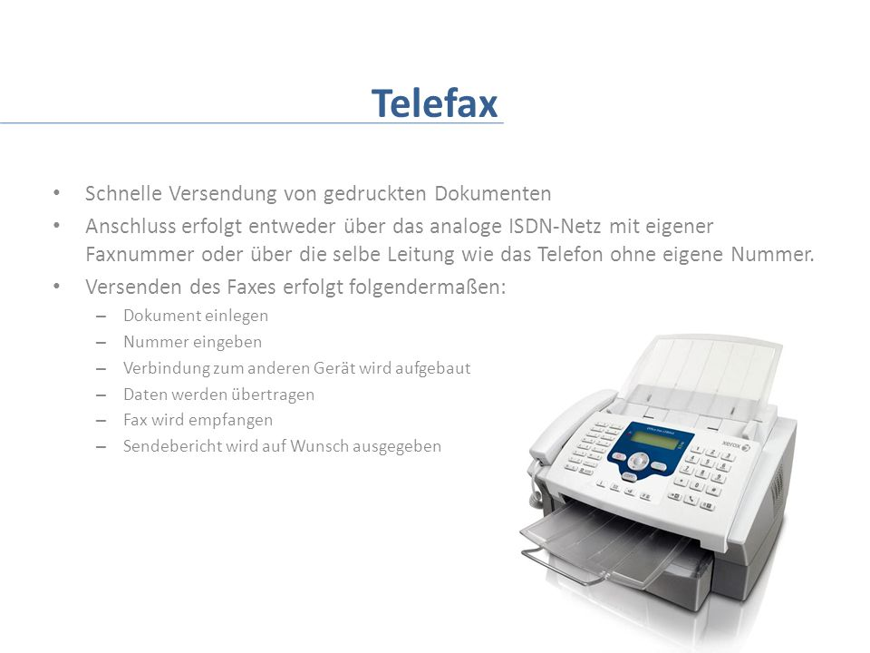 Telefax Schnelle Versendung von gedruckten Dokumenten