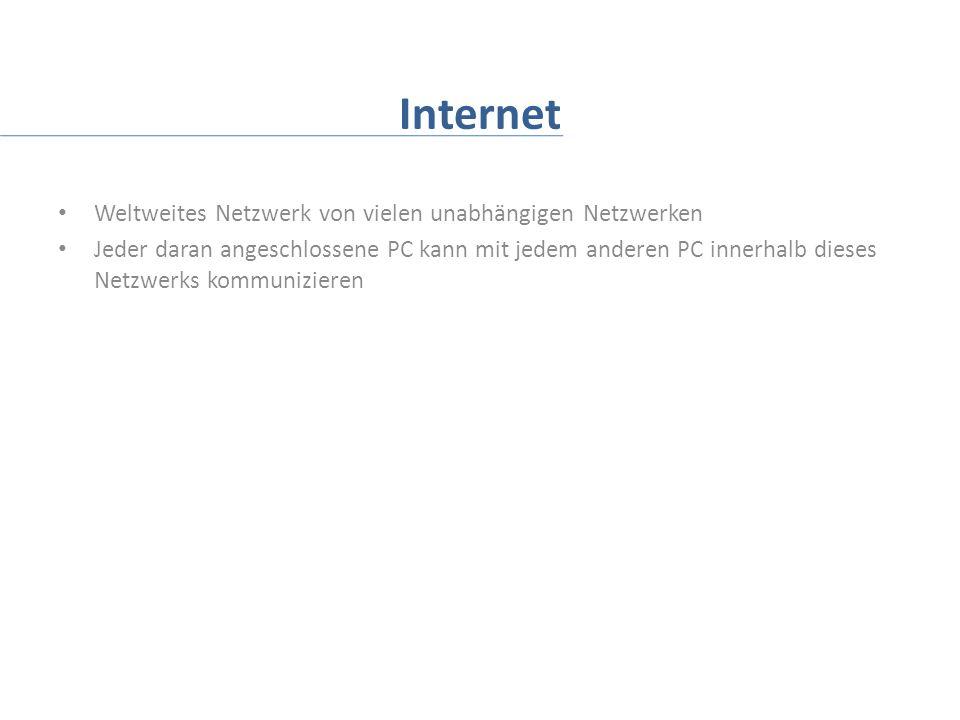 Internet Weltweites Netzwerk von vielen unabhängigen Netzwerken