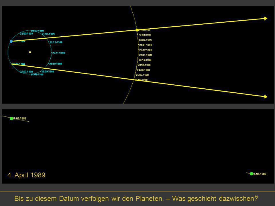4. April 1989 Bis zu diesem Datum verfolgen wir den Planeten. – Was geschieht dazwischen