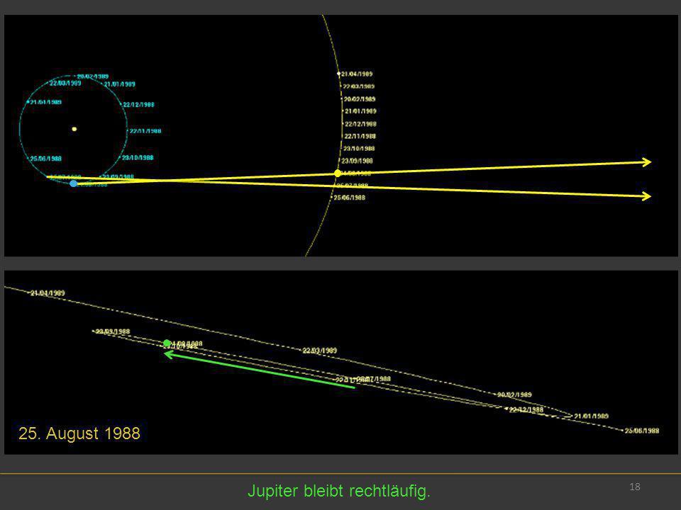 25. August 1988 Jupiter bleibt rechtläufig.