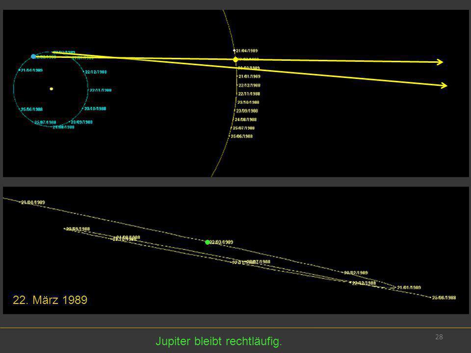 22. März 1989 Jupiter bleibt rechtläufig.