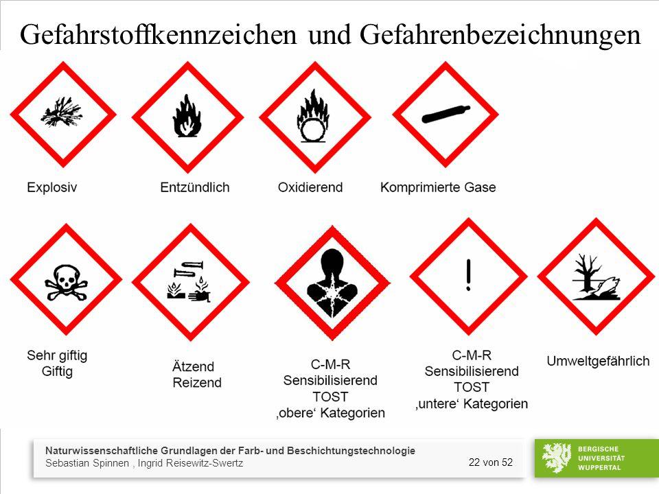 Gefahrstoffkennzeichen und Gefahrenbezeichnungen