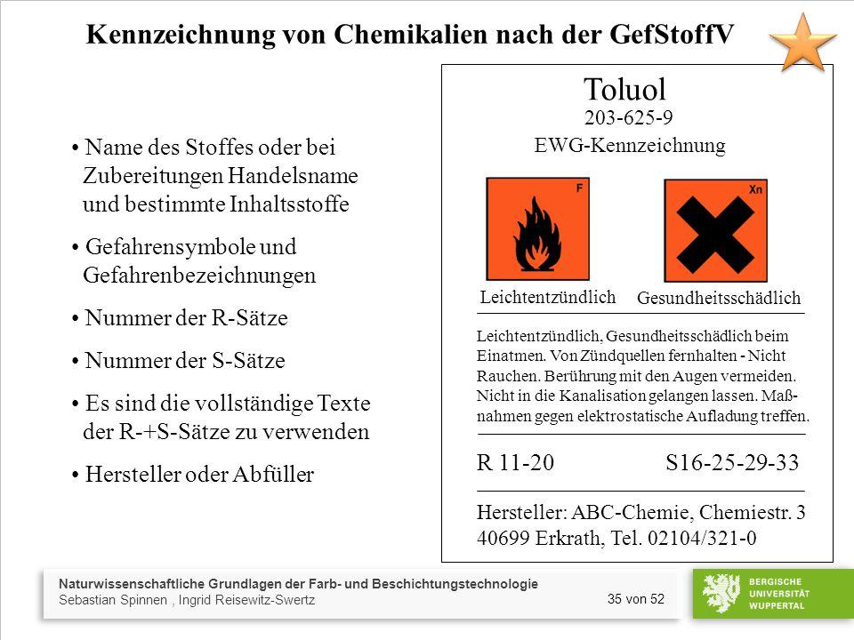 Toluol Kennzeichnung von Chemikalien nach der GefStoffV