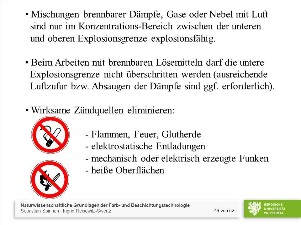 Mischungen brennbarer Dämpfe, Gase oder Nebel mit Luft sind nur im Konzentrations-Bereich zwischen der unteren und oberen Explosionsgrenze explosionsfähig.