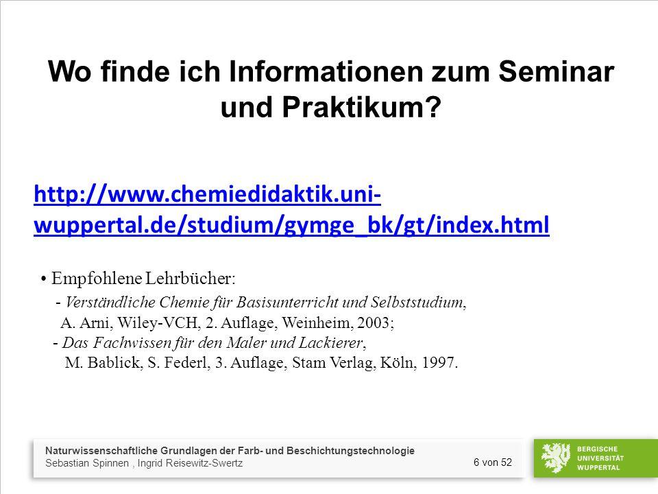 Wo finde ich Informationen zum Seminar und Praktikum