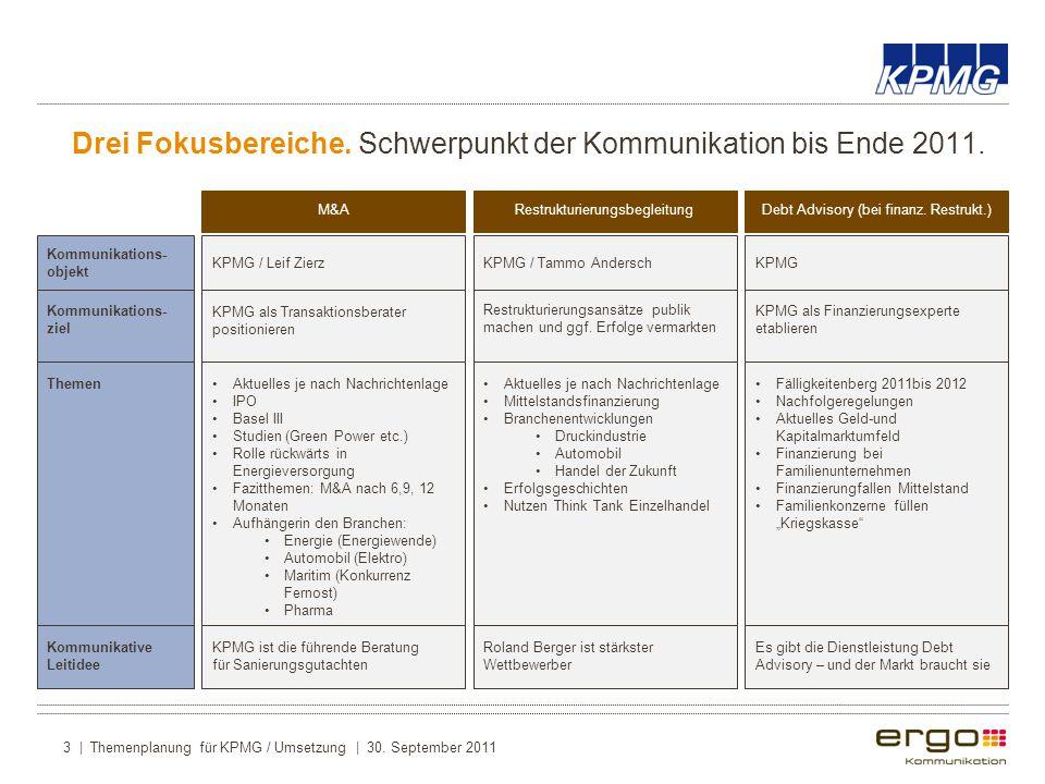 Drei Fokusbereiche. Schwerpunkt der Kommunikation bis Ende 2011.