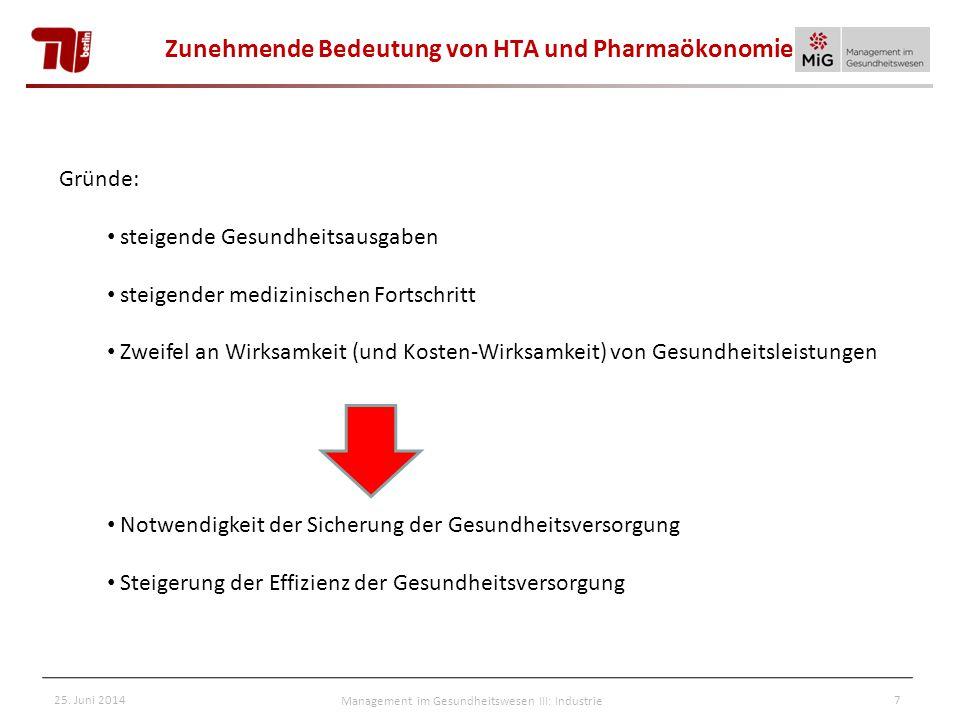 Zunehmende Bedeutung von HTA und Pharmaökonomie