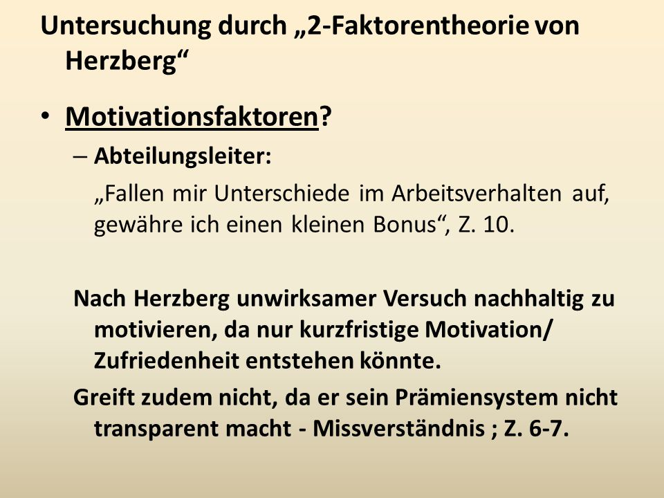 """Untersuchung durch """"2-Faktorentheorie von Herzberg"""