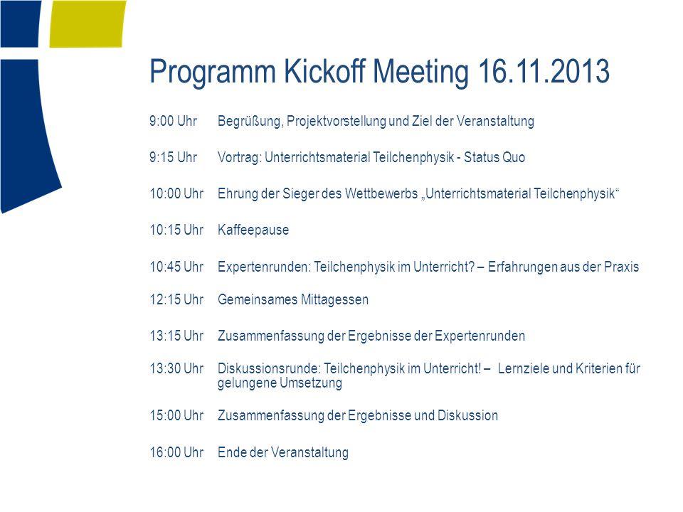 Programm Kickoff Meeting 16.11.2013