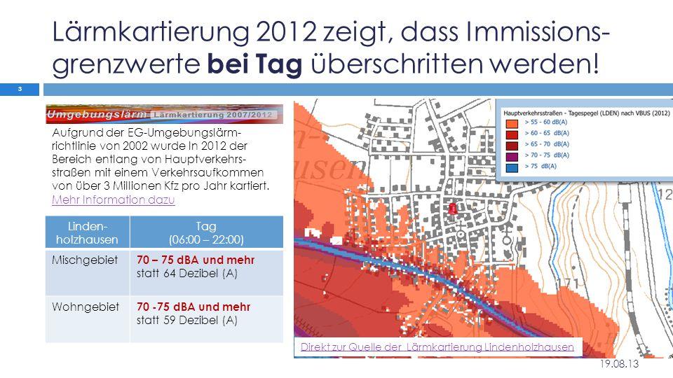 Lärmkartierung 2012 zeigt, dass Immissions-grenzwerte bei Tag überschritten werden!
