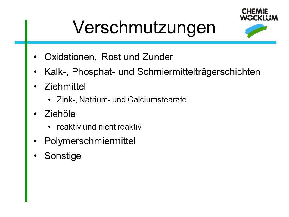 Verschmutzungen Oxidationen, Rost und Zunder