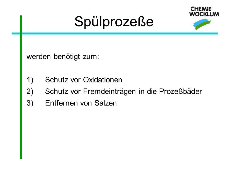 Spülprozeße werden benötigt zum: Schutz vor Oxidationen