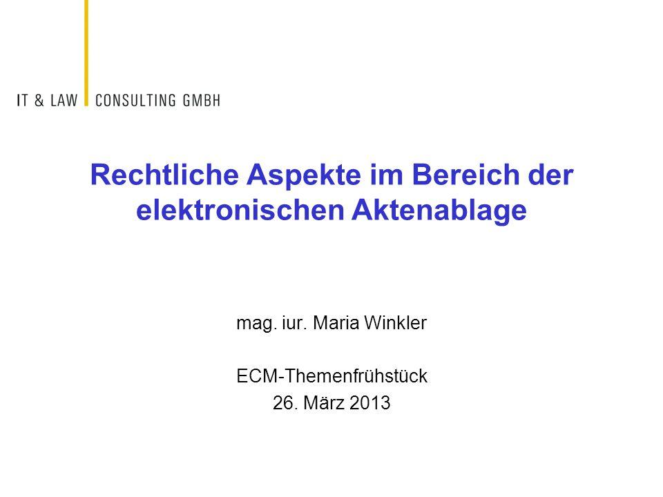 Rechtliche Aspekte im Bereich der elektronischen Aktenablage