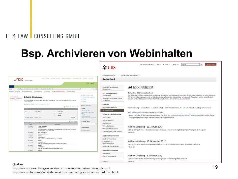 Bsp. Archivieren von Webinhalten