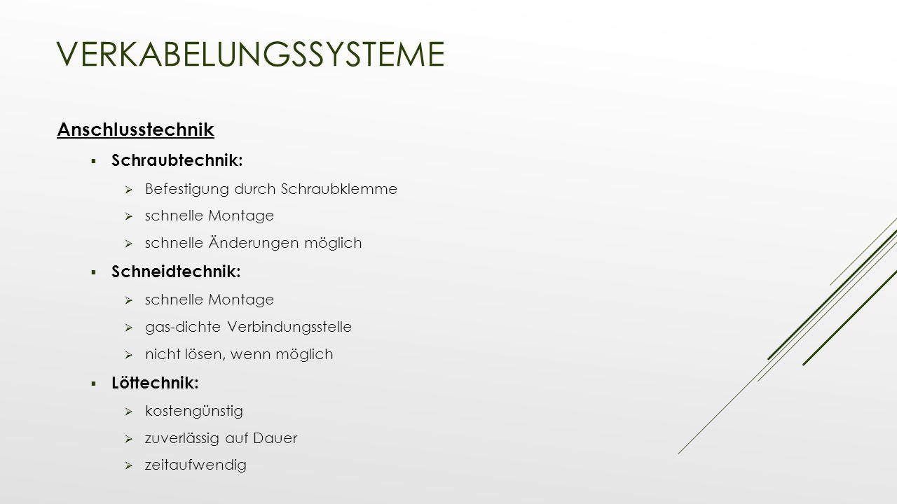 Verkabelungssysteme Anschlusstechnik Schraubtechnik: Schneidtechnik: