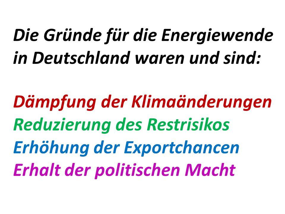 Die Gründe für die Energiewende in Deutschland waren und sind: