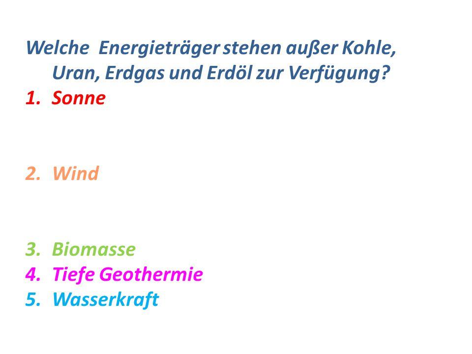 Welche Energieträger stehen außer Kohle, Uran, Erdgas und Erdöl zur Verfügung
