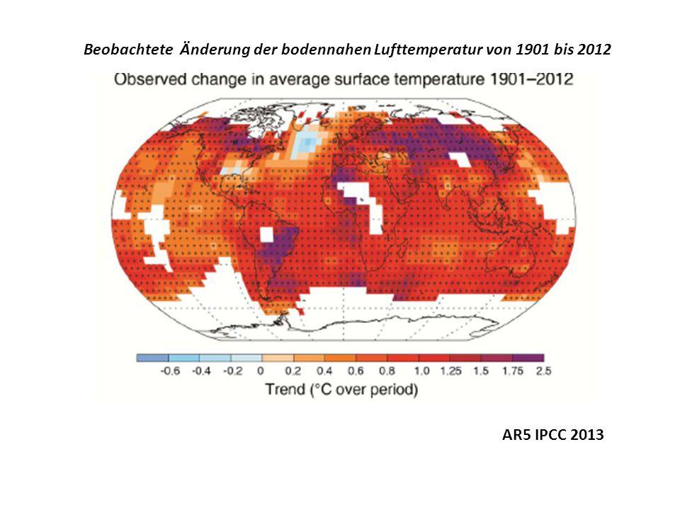 Beobachtete Änderung der bodennahen Lufttemperatur von 1901 bis 2012