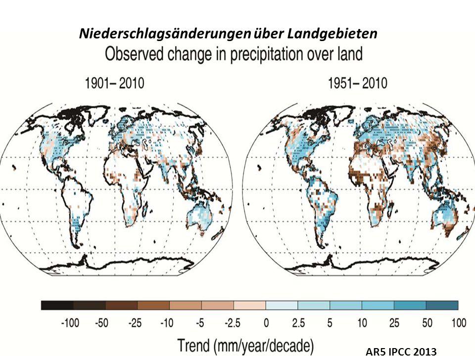 Niederschlagsänderungen über Landgebieten