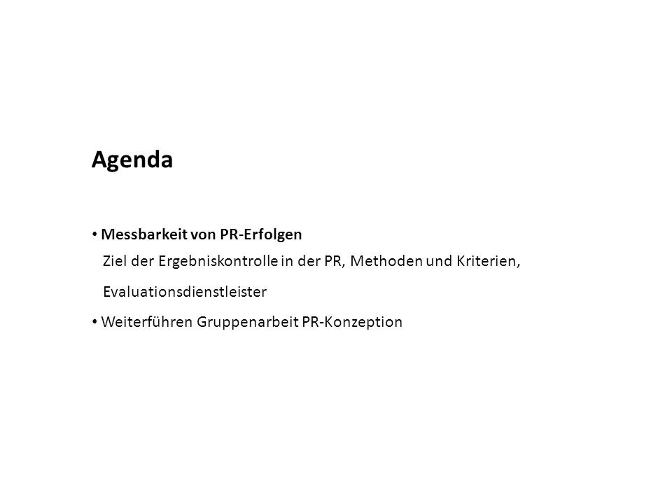 Agenda Messbarkeit von PR-Erfolgen