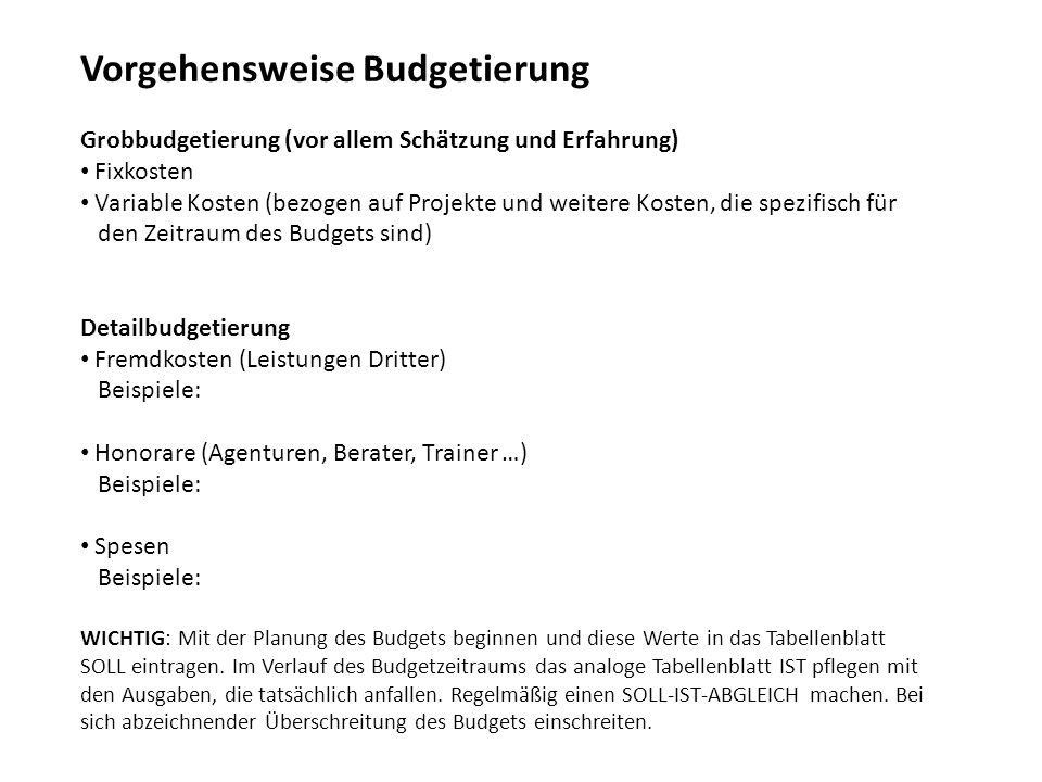Vorgehensweise Budgetierung