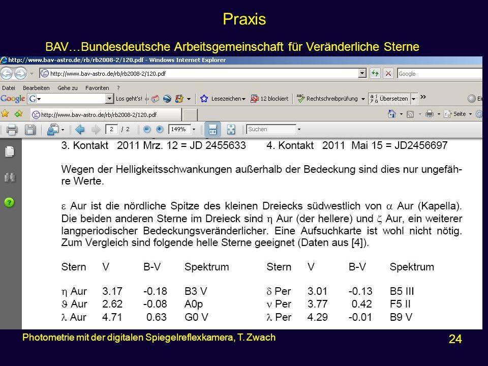 Praxis BAV…Bundesdeutsche Arbeitsgemeinschaft für Veränderliche Sterne