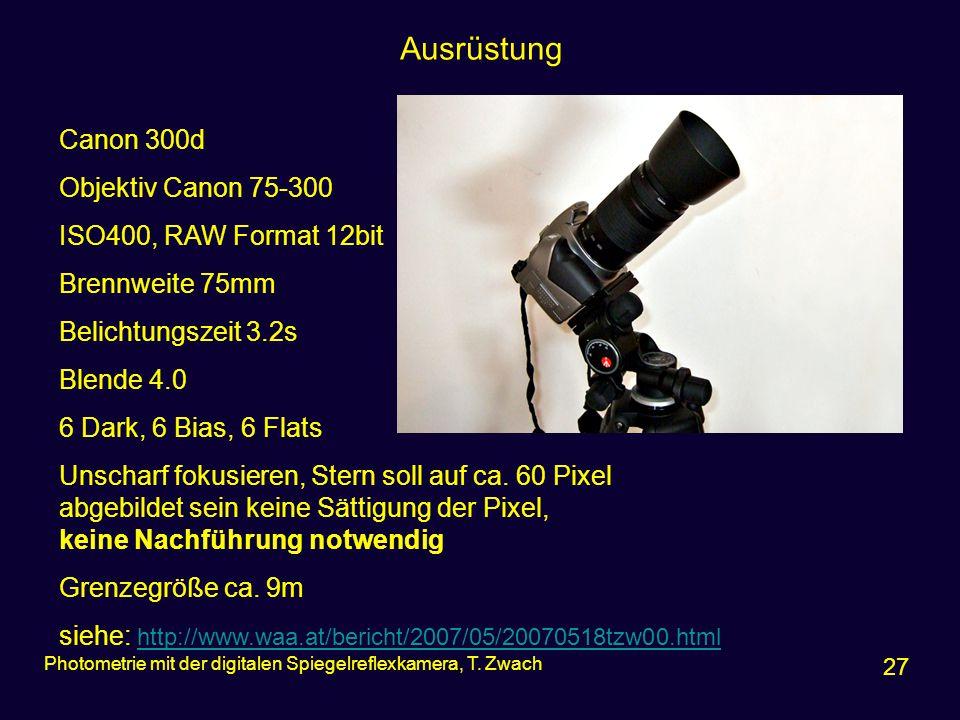 Ausrüstung Canon 300d Objektiv Canon 75-300 ISO400, RAW Format 12bit