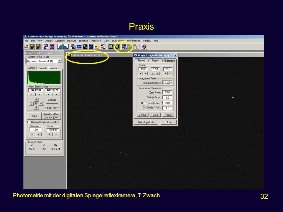 Praxis Photometrie mit der digitalen Spiegelreflexkamera, T. Zwach 32