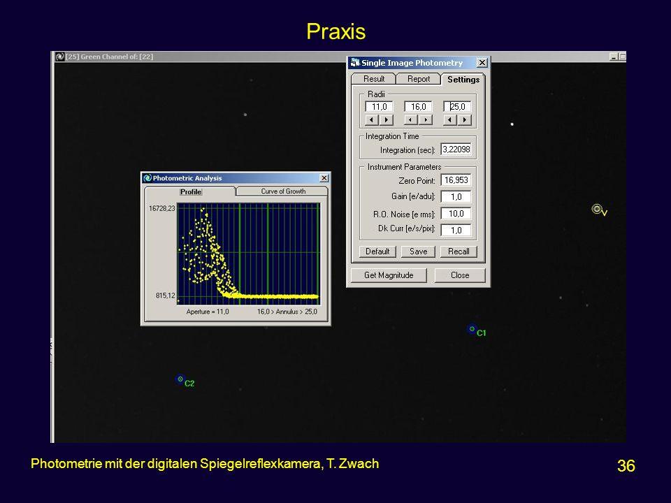 Praxis Photometrie mit der digitalen Spiegelreflexkamera, T. Zwach 36