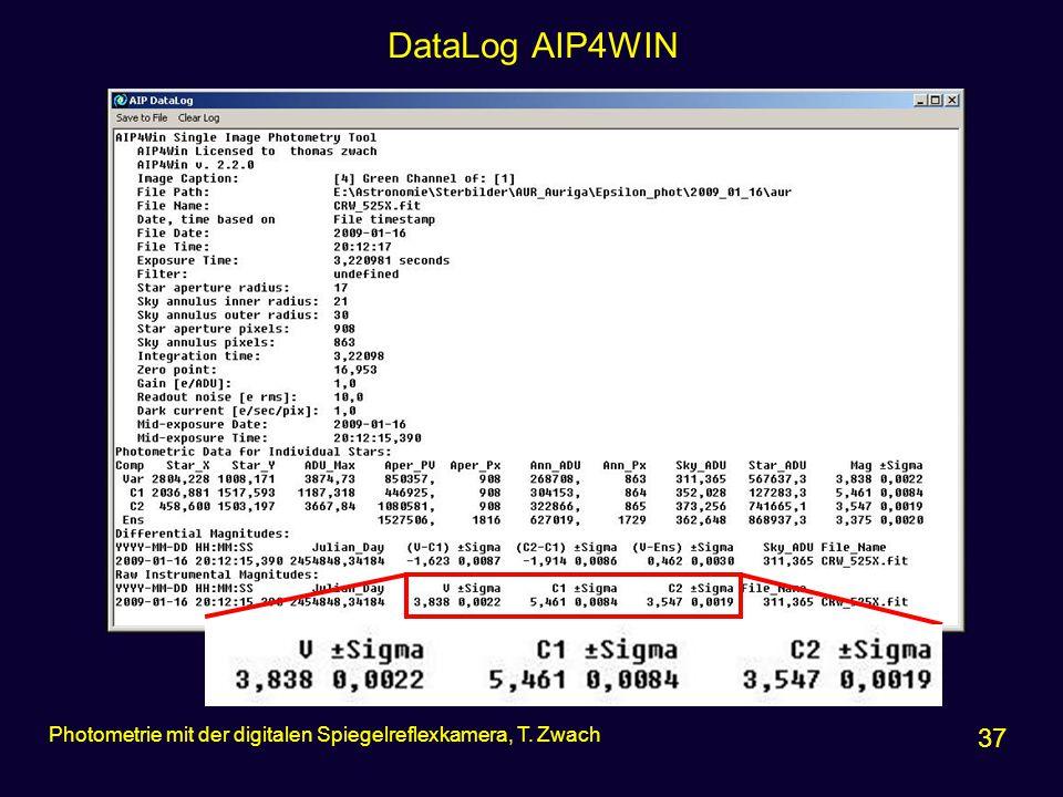 DataLog AIP4WIN Photometrie mit der digitalen Spiegelreflexkamera, T. Zwach 37