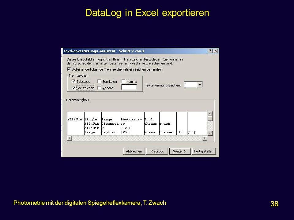 DataLog in Excel exportieren