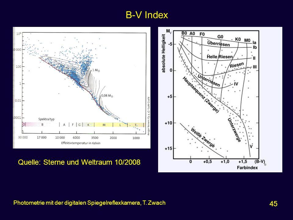 B-V Index Quelle: Sterne und Weltraum 10/2008 45