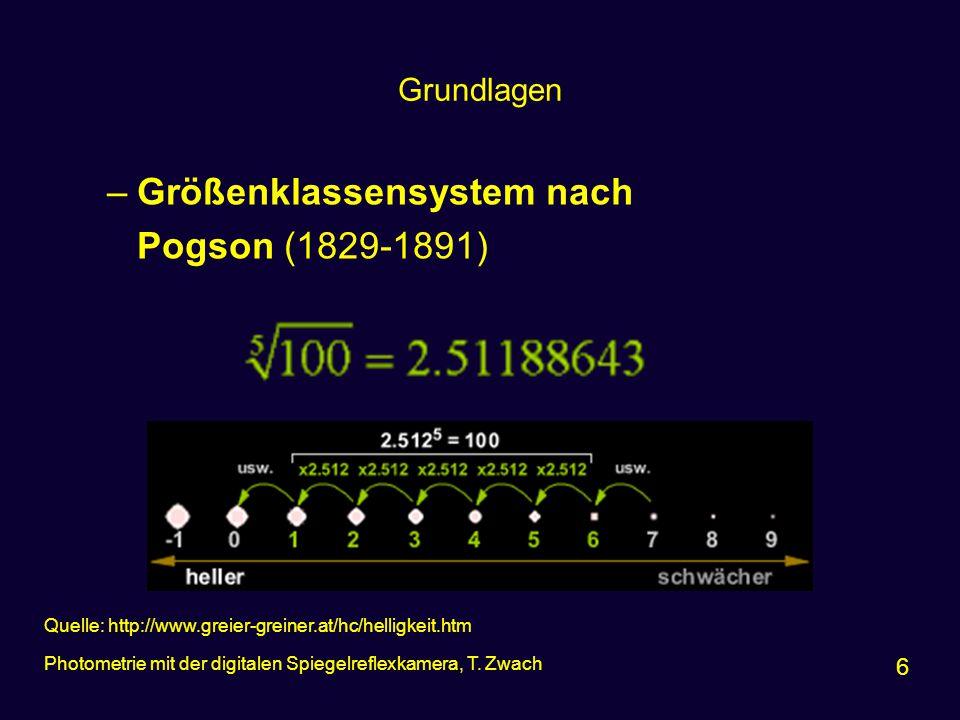 Größenklassensystem nach Pogson (1829-1891)