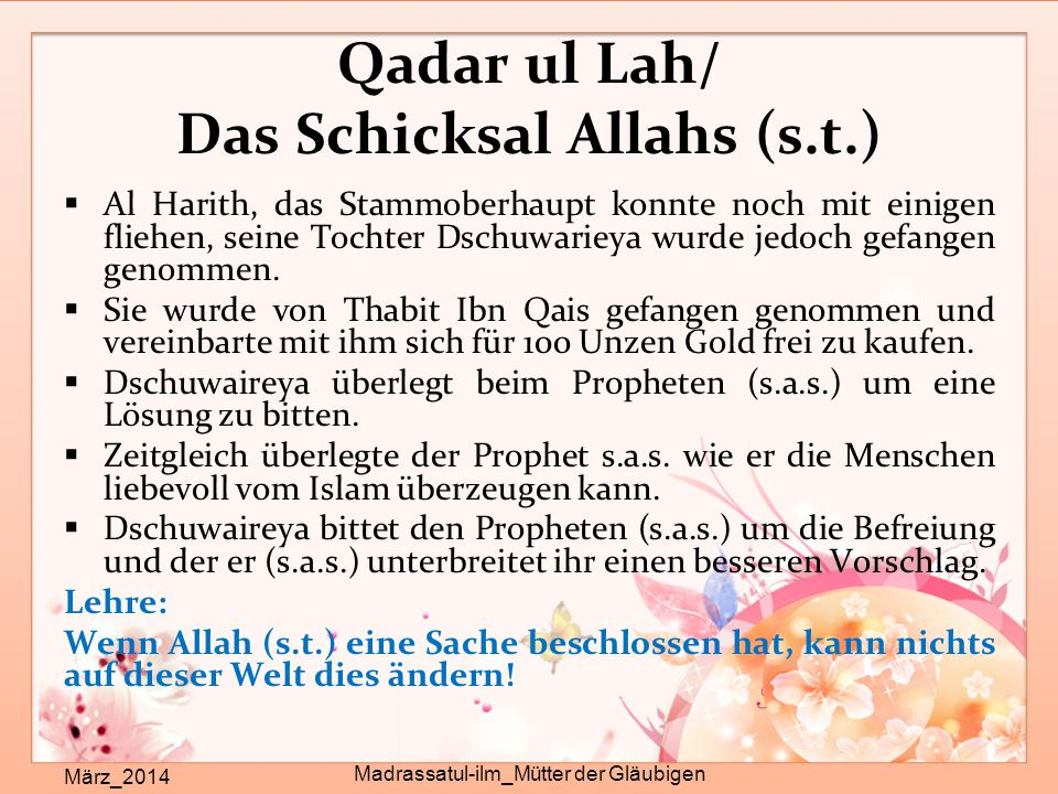 Qadar ul Lah/ Das Schicksal Allahs (s.t.)