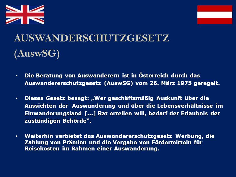 AUSWANDERSCHUTZGESETZ (AuswSG)
