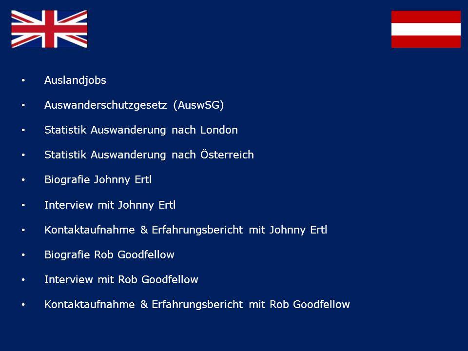 Auslandjobs Auswanderschutzgesetz (AuswSG) Statistik Auswanderung nach London. Statistik Auswanderung nach Österreich.