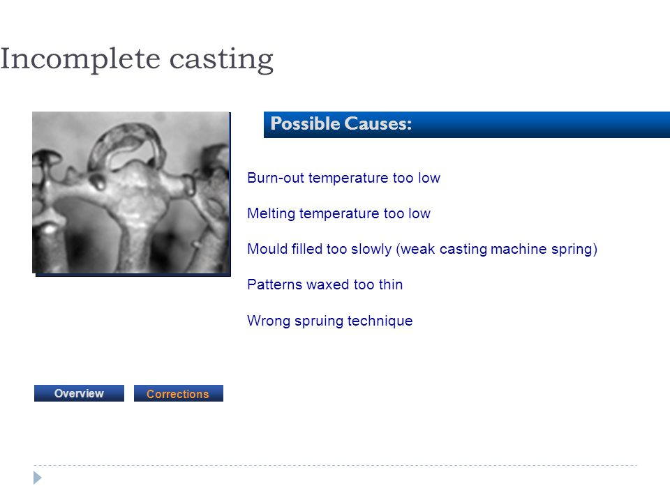 Incomplete casting Possible Causes: Burn-out temperature too low