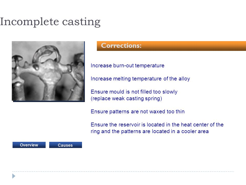 Incomplete casting Corrections: Increase burn-out temperature