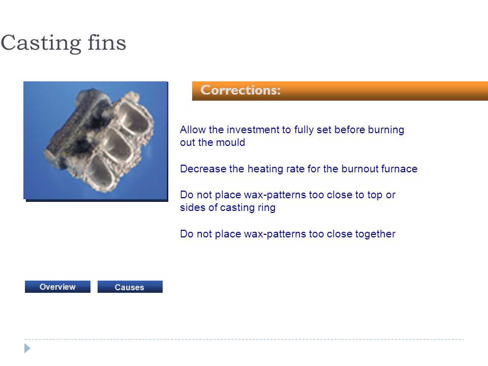 Casting fins Corrections: