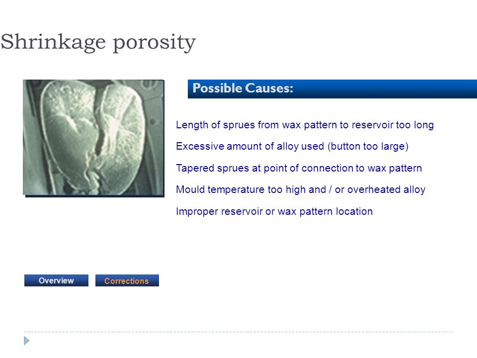 Shrinkage porosity Possible Causes:
