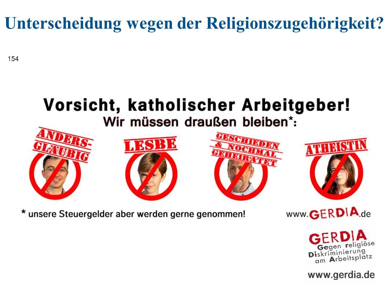 Unterscheidung wegen der Religionszugehörigkeit