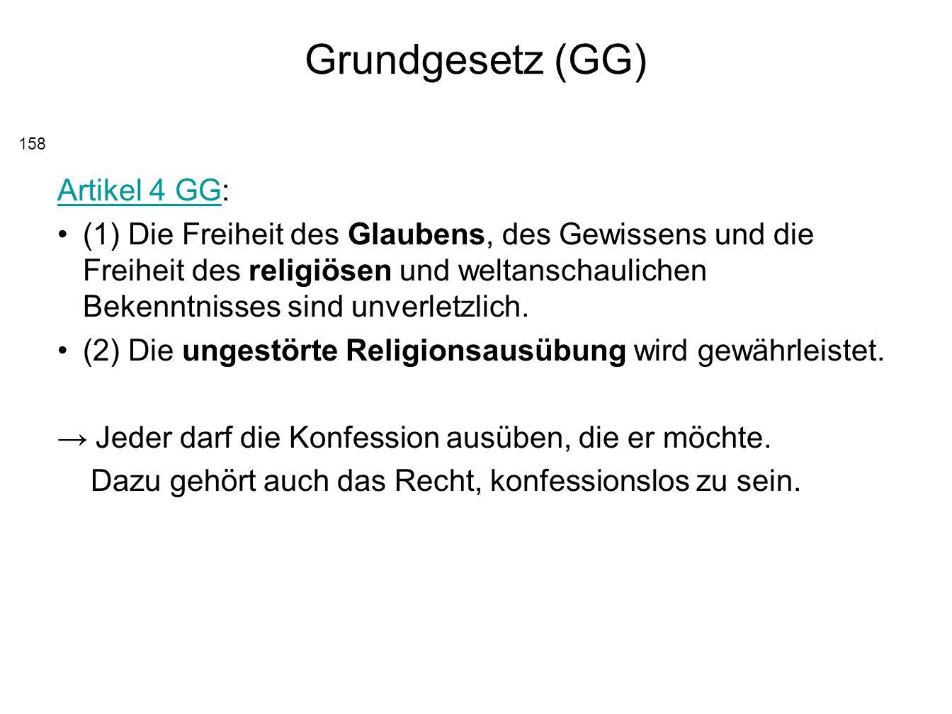 Grundgesetz (GG) Artikel 4 GG: