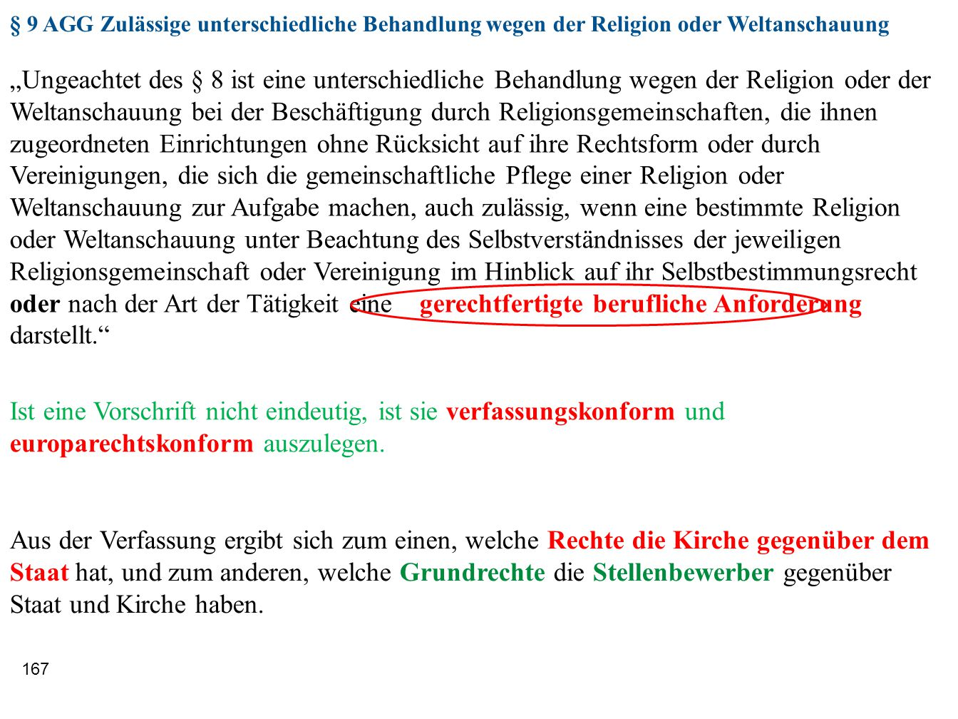§ 9 AGG Zulässige unterschiedliche Behandlung wegen der Religion oder Weltanschauung