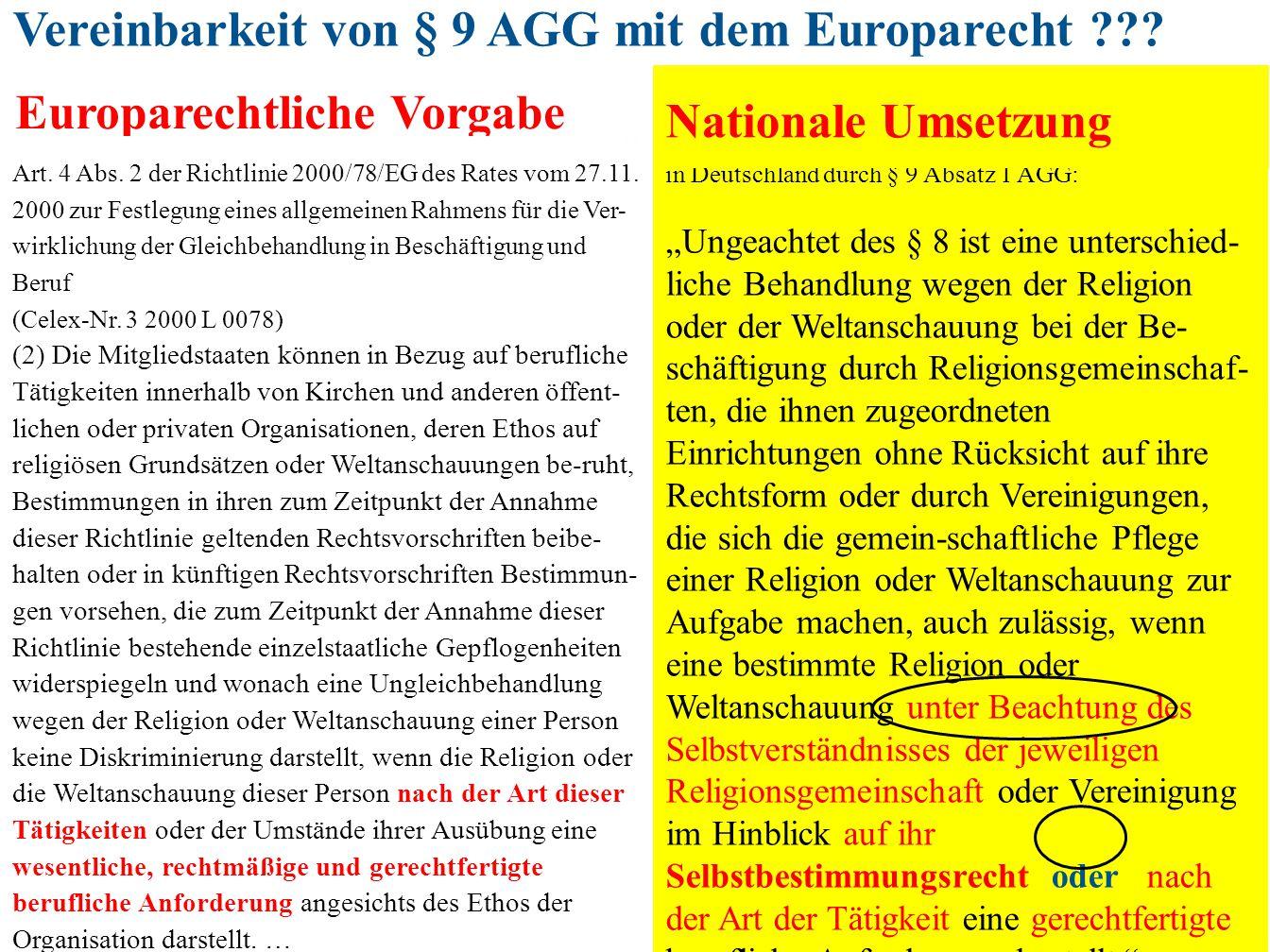 Vereinbarkeit von § 9 AGG mit dem Europarecht