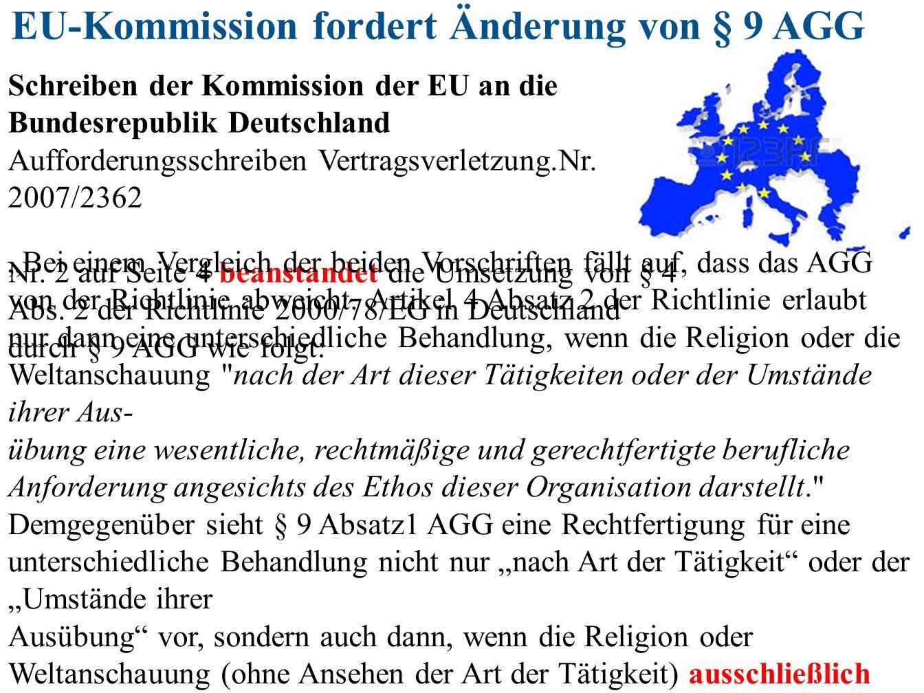 EU-Kommission fordert Änderung von § 9 AGG